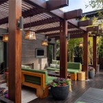 Modern-Wooden-Pergola-Design-For-Patio-with-Wooden-Deck-and-Green-Sofa